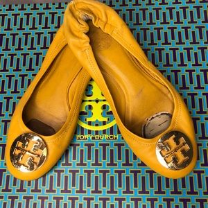 Tory Burch Reva Flats Yellow and Gold